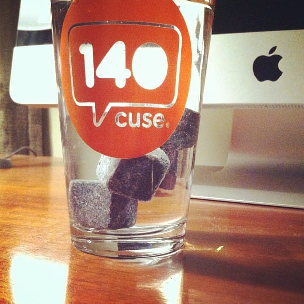 140Cuse Glass with Water and Whisky Rocks