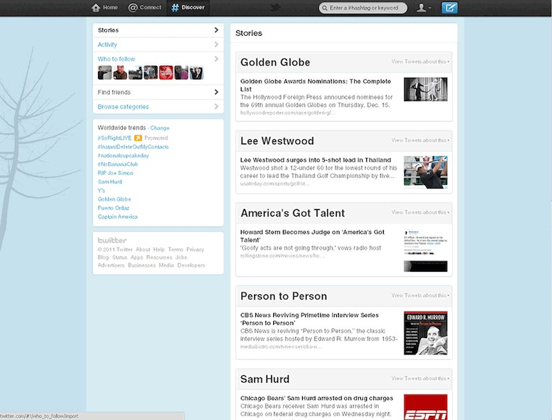 Twitter Discovery Tab